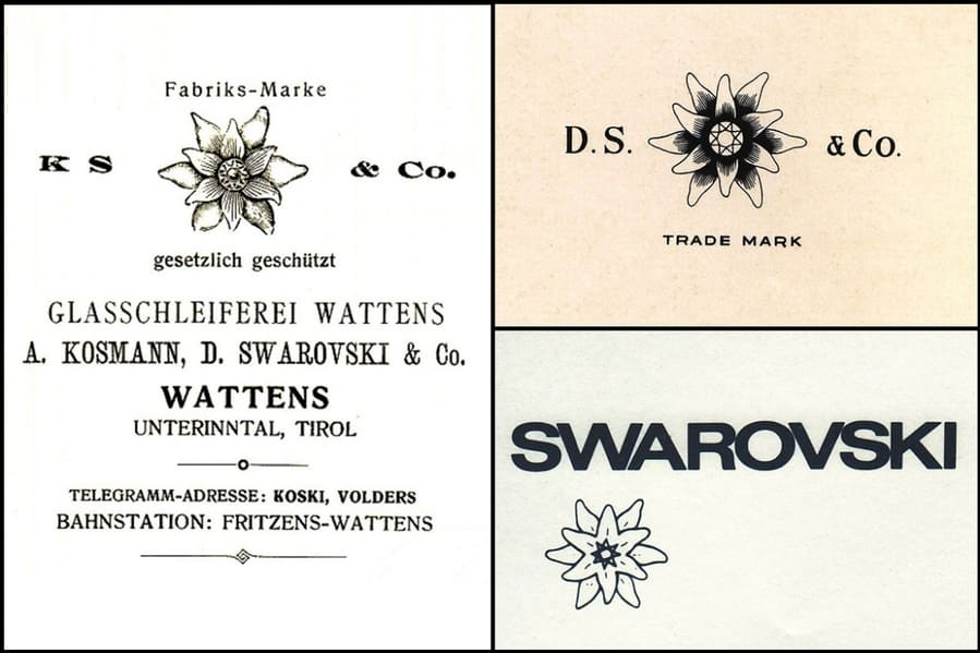 Различные версии эдельвейса Swarovski, примерно с 1899 по 1980 год.